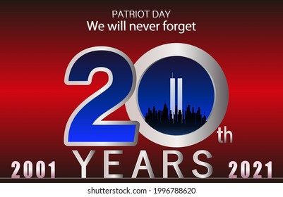 20 years from September 11, 2001 Red background-landscape.