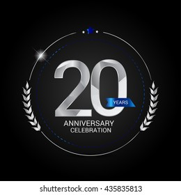 20 Years Silver anniversary logo, low poly design number