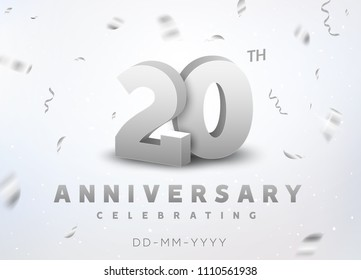 20 years silver number anniversary celebration event. Anniversary banner ceremony design for 20 age.