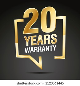 20 Years Warranty in speech brackets gold black sticker icon