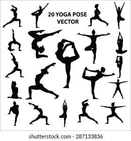 20 yoga pose vector