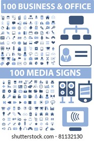 200 business & media icons, signs, vector illustration