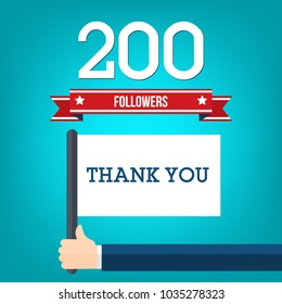 200 followers illustration and a hand holding flag with thank you message, flat design vector illustration.