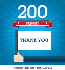 200 followers in social networks , vector illustration