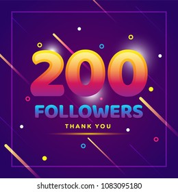 200 followers thank you colorful background and glitters. Illustration for Social Network friends, followers, Web user Thank you celebrate of subscribers or followers and likes