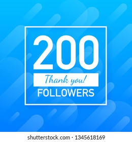 200 followers, Thank You, social sites post. Thank you followers congratulation card. Vector stock illustration.