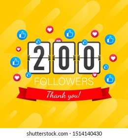 200 followers, Thank You, social sites post. Thank you followers congratulation card. Vector stock illustration