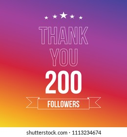 200 followers. Vector illustration in flat style