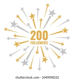 200 followers, vector illustrations with golden and silver fireworks