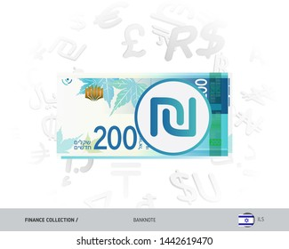200 Israeli New Shekel banknote. Flat style vector illustration isolated on currency background. Finance concept.