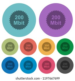 200 mbit guarantee sticker darker flat icons on color round background