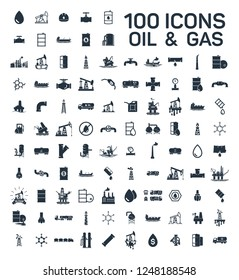 200 oil and gas industry isolated icons on white background