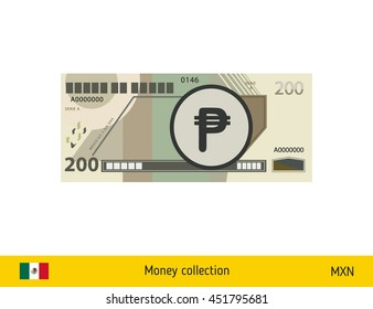 200 peso banknote illustration.