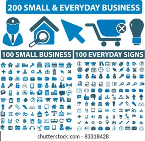 200 small everyday & business icons, signs, vector illustrations