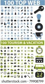 200 top web & travel signs, vector
