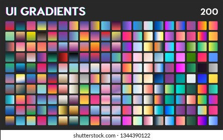 200 UI Gradient Color Swatches. Vector gradients background. Web Gradient. X style trend colors - Vector