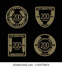 200 years anniversary celebration logotype. 200th anniversary logo collection. Set of anniversary design template. Vector and illustration.