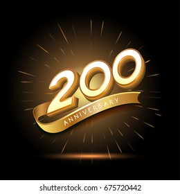 200 years golden anniversary logo celebration with firework and ribbon