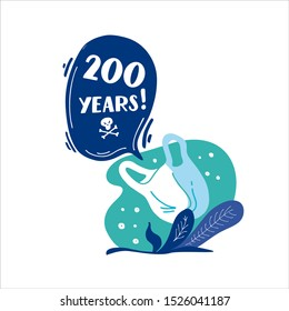 200 years. How long decompos plastic bag in nature. Stop plastic pollution! Vector flat illustration for World Environment Day. Plastic floats in the ocean. Harm to nature. Elements, clip art