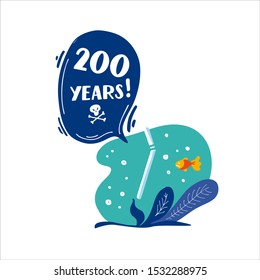 200 years. How long decompos plastic tube in nature. Stop plastic pollution! Vector flat illustration for World Environment Day. Plastic floats in the ocean. Harm to nature. Elements, clip art