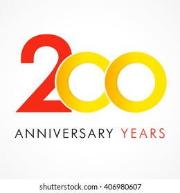 200 years old multicolored logotype. 20th greetings congratulating template. Isolated shape numbers. Abstract colored digits of percent % off graphic. White background. Sale web button, discount label