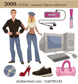 2000 fashion style man and woman personal objects