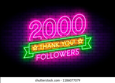 2000 followers neon sign on the wall. Realistic neon sign with number of followers on the ribbon with stars. Vector illustration for celebrating a large number of subscribers in social networks.