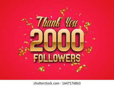 2000 followers. Poster for social network and followers. Vector template for your design.