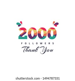 2000 Followers thank you design template