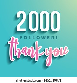 2000 followers Thank you - Illustration for Social Network friends, followers, Web user Thank you celebrate of subscribers or followers and likes.