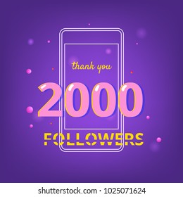 2000 Followers thank you phrase. Template for social media post. Glitch chromatic aberration style. Ultra violet palette colors. 2K subscribers banner. Vector illustration.