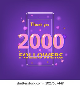 2000 Followers thank you phrase with random items. Template for social media post. Glitch chromatic aberration style. Ultra violet palette colors. 2K subscribers banner. Vector illustration.