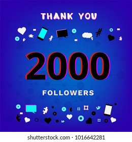 2000 Followers thank you post on blue background with random items. Glitch chromatic aberration trendy effect. Banner of 2K subscribers. Template for social media post. Vector illustration.