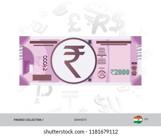 2000 Indian Rupee Banknote. Flat style vector illustration isolated on currency background. Finance concept.
