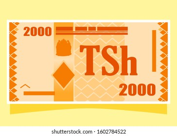 2000 Tanzanian Shilling TZS banknotes paper money vector icon logo illustration and design. Tanzania business, payment and finance element. Can be used for web, mobile, infographic, and print.