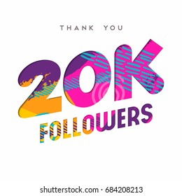 20000 followers thank you paper cut number illustration. Special 20k user goal celebration for twenty thousand social media friends, fans or subscribers. EPS10 vector.