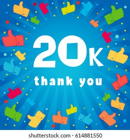 20000 followers vector illustration with thank you on pattern of colored likes. 20k thank you banner