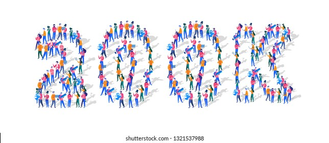 20000K Followers Isometric Vector Concept, Group of business people are gathered together in the shape of 20000 word, for web page, banner, presentation, social media, Crowd of little people. teamwork