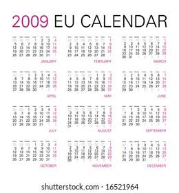 2009 year calendar in vector