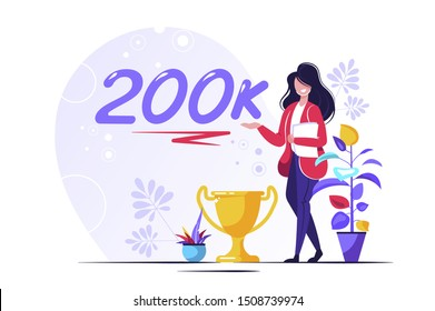 200K Followers Isometric Vector Concept, Group of business people are gathered together in the shape of 20000 word, for web page, banner, presentation, social media, Crowd of little people. teamwork