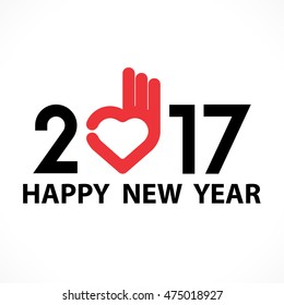2,0,1 and 7 and heart hand sign with holiday background concept.Happy new year 2017 holiday background.2017 Happy New Year greeting card.Vector illustration