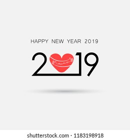 2,0,1 and 9 and hand sign with holiday background concept.Red Heart sign and Happy New Year 2019 Typographical Design Elements.Happy new year 2019 holiday background.2019 Happy New Year greeting card.