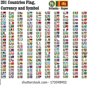 201 countries currency symbols using and representing money and Flags of the counties in the world.