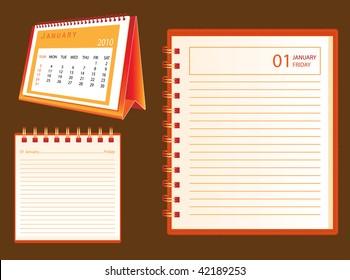 2010 desk calendar and notebook