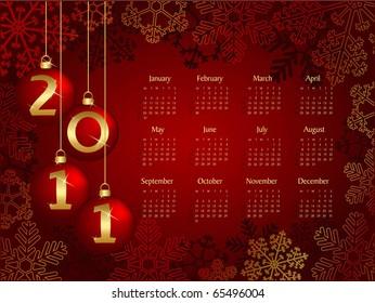 2011 calendar with christmas concept