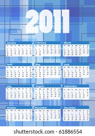 2011 calendar with colorful abstract background