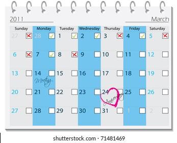 2011 calendar design for march