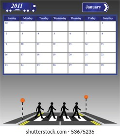 2011 January calendar with 4 men on a crossing