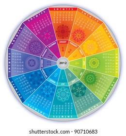 2012 Calendar in Rainbow Colors with Mandalas