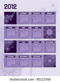 2012 Calendar. Vector Background. Illustration.